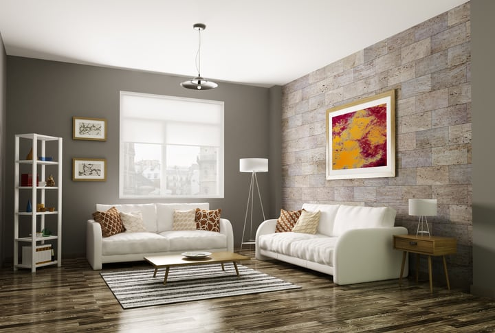 Modern Living Room 3d Rendering Sarana Tile